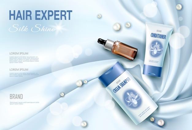 Realistische 3d detaillierte haarpflege kosmetikpaket seide textil.