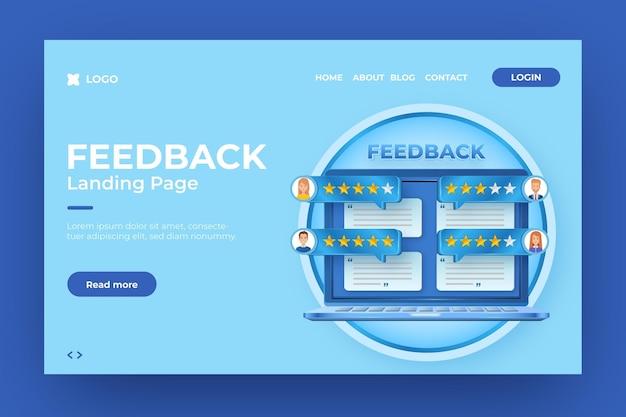 Realistische 3d-feedback-landingpage