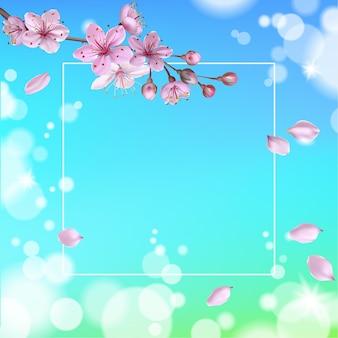 Realistische 3d-frühlingsverkaufsskript-schriftzug-web-banner-vorlage. farbe rosa sakura kirschblüte blume blauer himmel landschaft hintergrund design shop quadratische soziale poster vektor-illustration.