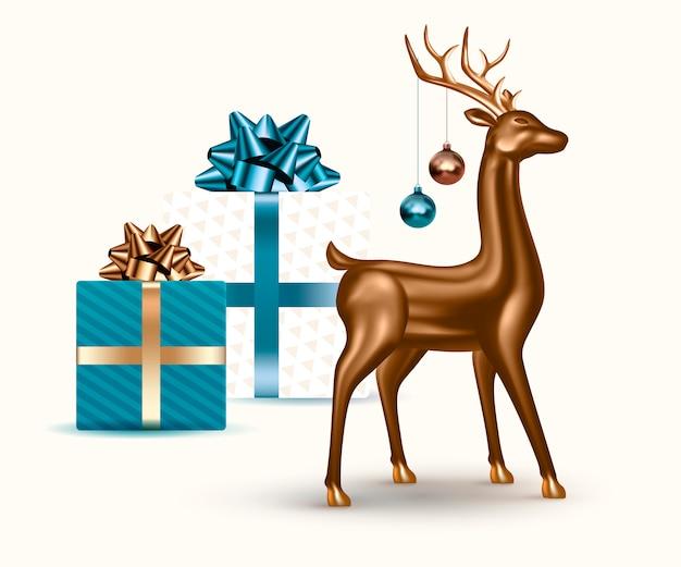 Realistische 3d-glashirsche, weihnachtskugeln und geschenke