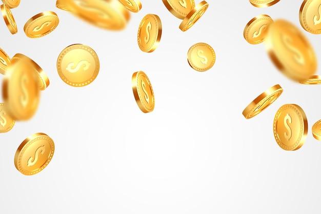 Realistische 3d-goldmünzenexplosion auf weiß