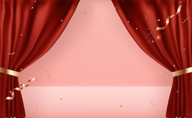 Realistische 3d-hintergrundvorlage mit offenen vorhängen.