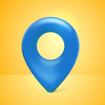 Realistische 3d-karte pin-zeiger-symbol blau mit gelbem hintergrund