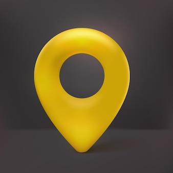 Realistische 3d-karte pin-zeiger-symbol gelb mit schwarzem hintergrund