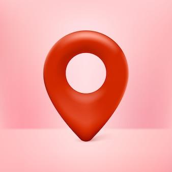 Realistische 3d-karte pin-zeiger-symbol rot mit rosa hintergrund
