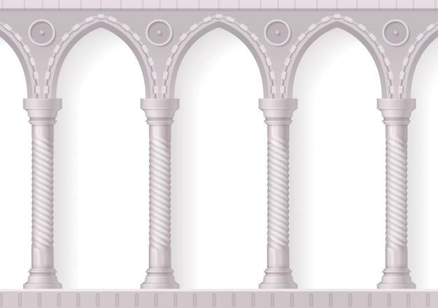 Realistische 3d-komposition der vier antiken weißen säulen mit rippen auf weiß