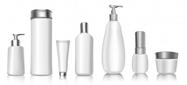 Realistische 3d-kosmetikpaket leere vorlagen modell von weichen weißen kunststoffbehältern.