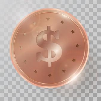 Realistische 3d kupfermünze
