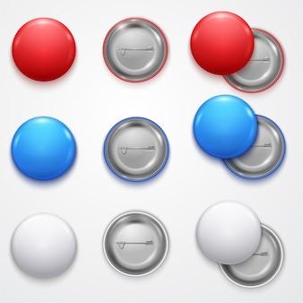 Realistische 3d leere farbleere kreis-knopf-ausweis pin set front side element presentation und werbungs-einzelhandel.