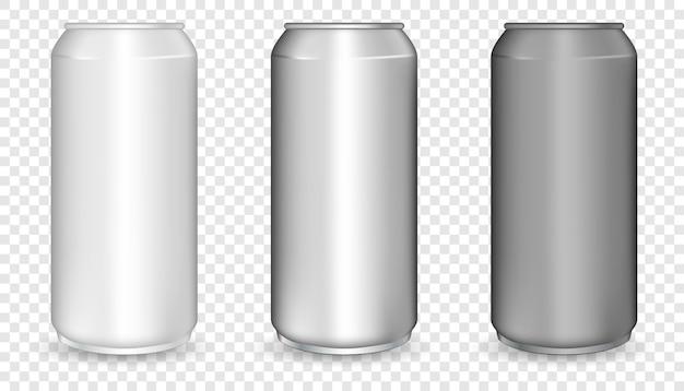 Realistische 3d leere glänzende metall weiß, schwarz und silber aluminium bierpackung oder kann setzen. leeres modell aus aluminium.