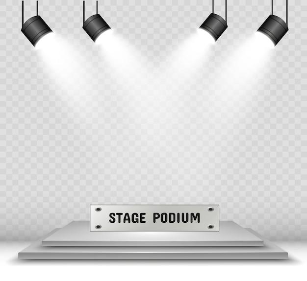 Realistische 3d-lichtbox mit plattform. studio interieur podium mit scheinwerfern