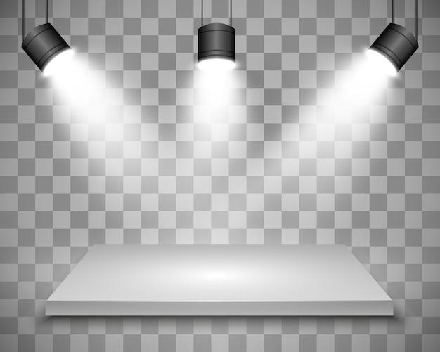 Realistische 3d-lichtbox mit plattformhintergrund für designleistung, show, ausstellung. illustration von lightbox studio interior. podium mit scheinwerfern.