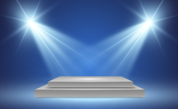 Realistische 3d-lichtbox mit plattformhintergrund für designleistung, show, ausstellung