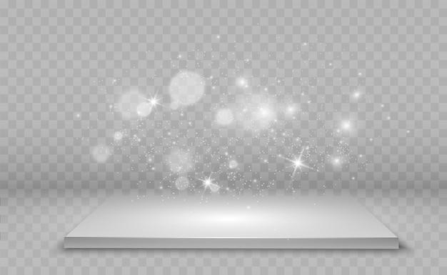 Realistische 3d-plattform mit lichteffekt