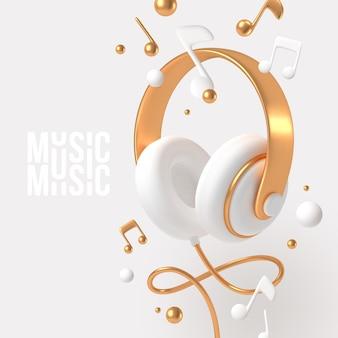 Realistische 3d-rendering-kopfhörer mit goldenen elementen und musiknoten