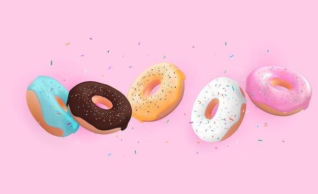 Realistische 3d süße leckere dessertillustration
