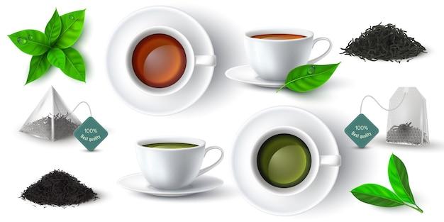 Realistische 3d-tasse mit grünem und schwarzem tee, blättern und pyramiden-teebeutel. tassen mit heißer getränkeseite und draufsicht. trockener kräutertee stapelt vektorsatz. becher mit getränk, trockenen und frischen blättern