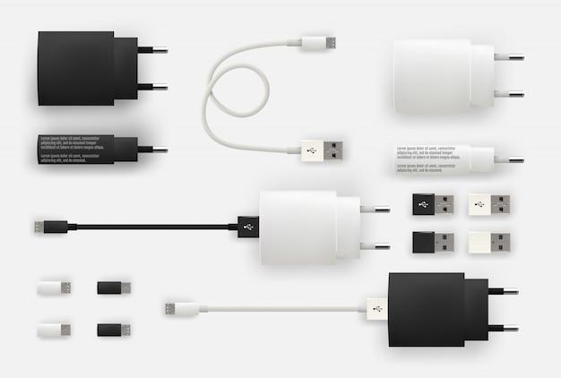 Realistische 3d-usb-mikrokabel, anschlüsse, buchsen und stecker
