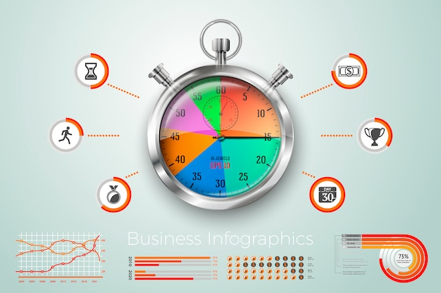 Realistische 3d wecker geschäft infografiken, symbole und diagramme.