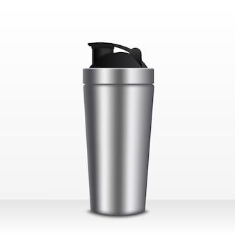 Realistische 3d weiße und schwarze leere glatte metallwasserflasche mit gesetzter nahaufnahme der schwarzen pfropfenikone auf weiß