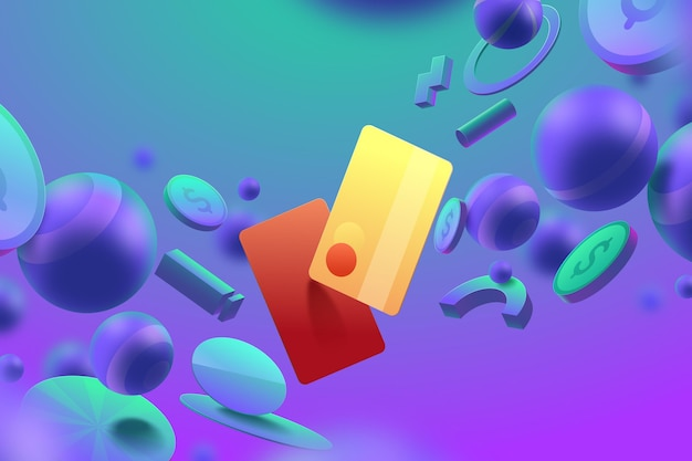 Realistische 3d-werbung mit kreditkarten