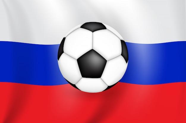Realistische 3d-zeichnung flagge der russischen föderation (russland) mit einem fußball