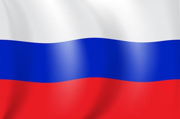 Realistische 3d-zeichnung flagge der russischen föderation (russland)