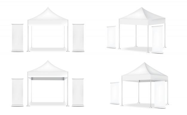 Realistische 3d-zeltanzeige pop booth and roll up. banner zum verkauf marketing promotion ausstellung illustration