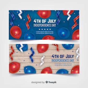 Realistische 4. juli banner