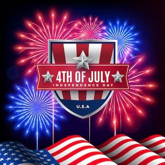 Realistische 4. juli - unabhängigkeitstag illustration