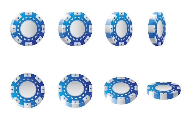 Realistische abbildung der blauen und weißen kasinochips. poker, kasino, vegas.