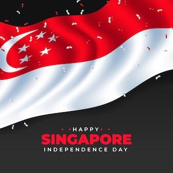 Realistische abbildung zum nationalfeiertag in singapur