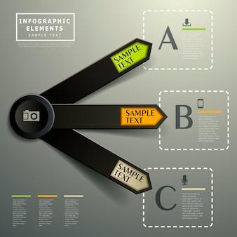 Realistische abstrakte 3d-papier-infografik-elemente