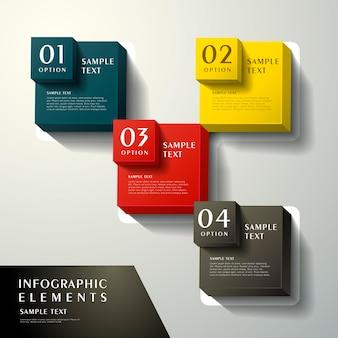 Realistische abstrakte 3d-würfel-infografik-elemente Premium Vektoren