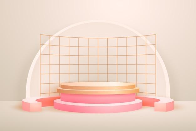 Realistische abstrakte geometrische goldfolierte 3d-formen