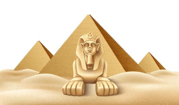 Realistische ägyptische pyramiden mit sphinx berühmter historischer ort des afrikanischen wahrzeichens in gizeh