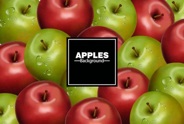 Realistische äpfel hintergrund