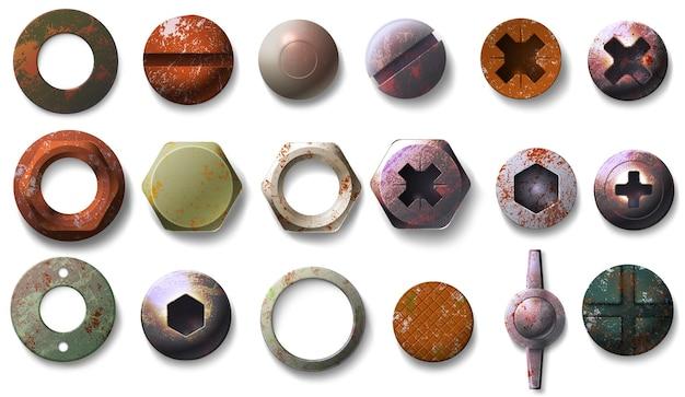 Realistische alte rostige schrauben- und bolzenköpfe draufsicht. metall runde und sechseckige nüsse, nägel und nieten mit grunge-rost-textur-vektor-set