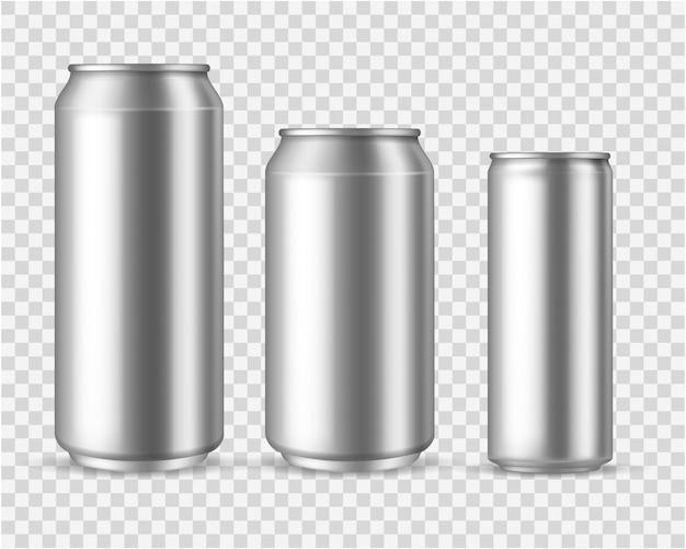 Realistische aluminiumdosen. blank metallic kann bier soda wasser saft verpackung 300 330 500 leere behälter vorlage trinken