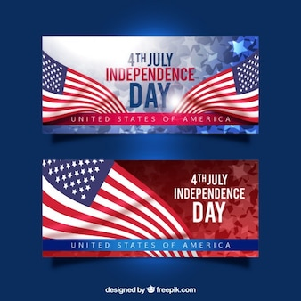 Realistische amerikanische flaggen unabhängigkeitstag banner
