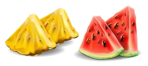 Realistische ananas und wassermelone in 3d