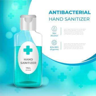 Realistische antibakterielle anzeige für händedesinfektionsmittel