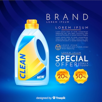 Realistische anzeige des waschmittelverkaufs