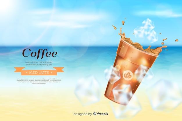 Realistische anzeige für kalten kaffee