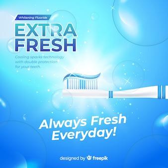Realistische anzeige von frischer zahnpasta