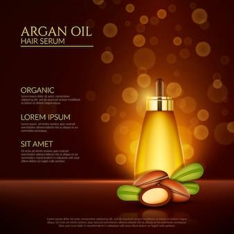 Realistische arganöl-haarserum-promo