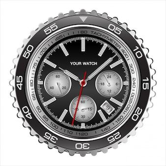 Realistische armbanduhr gesicht schwarz stahl chronograph luxus weiß
