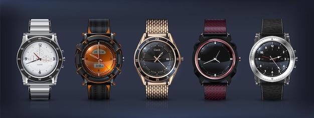 Realistische armbanduhren. klassische und moderne 3d-businessuhren mit chronograph, metall- und lederarmband und verschiedenen zifferblättern der uhrwerke. vektor-set stil moderne herrenuhr