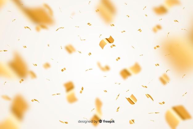 Realistische art des goldenen konfettihintergrundes