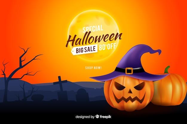 Realistische art des halloween-verkaufshintergrundes